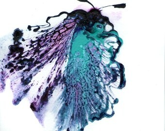 Butterfly Art, Abstract Painting, Small Artwork, Purple and Teal, Moth, Bug Art