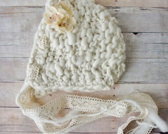 Knit Baby Bonnet, Newborn Baby Hat, Baby Photo Prop, Newborn Photo Props, Baby Hat, Knit Baby Hat in Handspun Ivory Yarn
