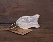 Nautical keychain, wooden keychain fish, fish  keyring