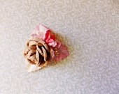 Malt Coral Blush Pink cream Roses Lilies Handmade Millinery Corsage baby kids hair bow headband ooak clip supply Vintage Style Flowers