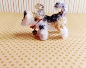 Franz The Terrier -Vintage Style Handmade dog Chenille Dollhouse Figurine, Artisan Miniature Pipe Cleaner Animal Doll, Wire Ornament 42915