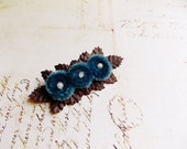 Copen Blue Chocolate Millinery Flower Brooch ~Velveteen Chenille Rosette pin, glass beaded stamens, velvet wedding accessory Victorian trim