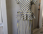 1950s Cotton Blue Chambray 2 pc suit Yellow Seersucker Stripes Pencil Skirt & Top with Peplum size Medium Large