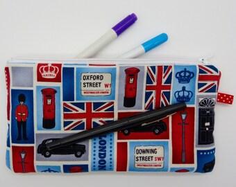 Pencil case, make-up bag, zip purse, cosmetic bag, cosmetic case,London print cotton lined zip bag, wash bag, zip pouch, toiletry bag.