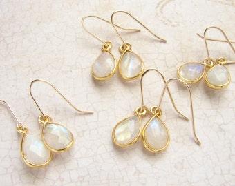 Moonstone drop earrings, Bridesmaid jewelry, moonstone teardrop earrings, June Birthstone earrings, June birthstone jewelry