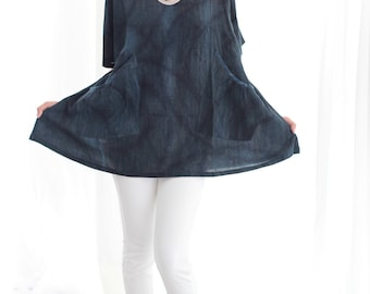 Indigo Natural Tie Dye and  hand paint blouse....Round neck..
