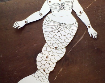 Abigail DIY fat mermaid articulated paperdoll print color cut assemble