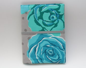 Notepad Organizer - Valori Wells Teal/Gray Olive Rose Fabric (Notepad Included)