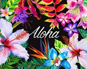 Aloha - Tropical floral bundle. Downloadable vector and raster file library. Exotic flowers and leaves, boranical illustrations.