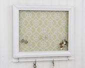 Jewelry Holder- White Framed Jewelry Organizer- Upcycled 8x10 Picture Frame