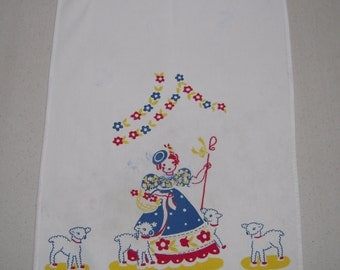 Vintage Towel Broderie Little Bo Peep Has Found Her Sheep