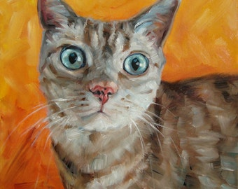 """NoseKisses, custom Cat Painting in Oils by puci, 8x8"""""""