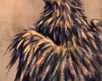 """Sepia Raven matted print from an original pencil drawing by Eden Bachelder, image 5"""" x 7"""", matting 8"""" x 10"""", crow, starling, rook, corvid"""