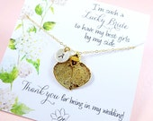 Bridesmaid gift, Personalized Leaf necklace, Lucky bride card, real leaf jewelry, bridal jewelry, botanical, autumn wedding, otis b jewelry