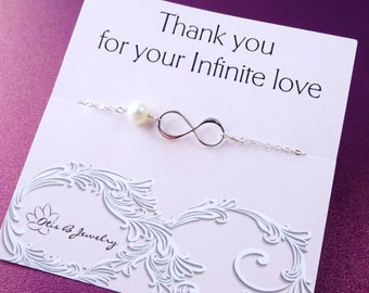 Friendship bracelet, best friends, sisters, mothers day gift, mother of the bride, mother of the groom, pearl bracelet, Infinity bracelet