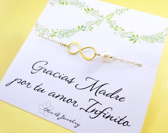 Spanish mothers gift, Infinity necklace on spanish greeting card, spanish message card, spanish language jewelry, mother of the bride groom