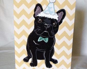 Chevron Frenchie Greeting Card