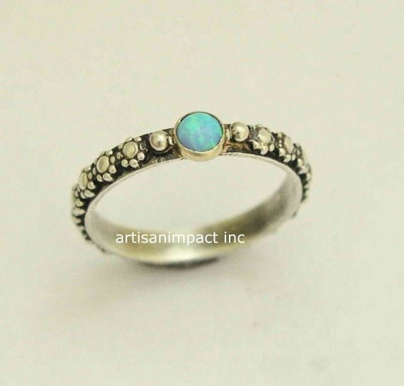 Silver engagement ring opal ring boho ring tribal by ...