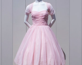 Vintage 1950's Dreamy Cupcake Chiffon Pale Pink Prom Cocktail Dress