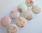 Shabby Knobs, Shabby Rose Knobs, Cottage Chic Knobs, Shabby Drawer Knobs- Pink, Light Teal- 1 1/2 Inches