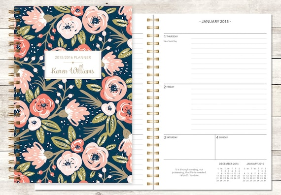 2015 planner | 2015-2016 calendar | custom weekly student planner | personalized planner agenda daytimer | pink gold stripes quote