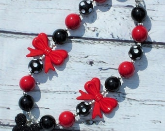 minnie mouse necklace, costume necklace, chunky necklace, bubblegum necklace,  red black necklace, girls necklace, mickey mouse necklace