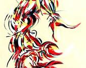 Yoga Art -- Acrylic Painting, Scorpion Pose