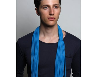Blue Scarves, Blue Circle Scarves, Blue Infinity Scarves, Blue Loop Scarf, Cerulean Blue Scarf, Blue Mens Scarf, Blue Cotton Scarf