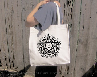 Pentagram Bag Canvas wiccan pagan design 100% Cotton grocery tote