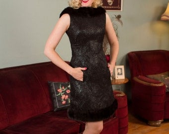 Vintage 1960s Dress - Swirling Patterned Black Lurex Bombshell 60s Cocktail Dress with Glossy Mink Fur Neckline and Hem