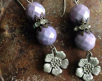 Wedding Bridesmaid Party Earrings Jewelry Women's Lavender Rhinestone Flower Dangle Summer Spring