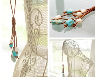 Long Tassel Necklace - Genuine Turquoise Necklace - Leather Necklace - Pearl Boho Necklace - Casual Jewelry - Gift For Women