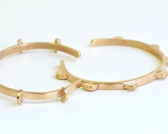 Lunar Cuff - Cast Bronze Bangle Bracelet, Half Circles, ONE Bracelet