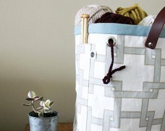 knitting basket, yarn storage, Knitting bag 'Hip to be Square'
