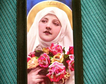 Vintage Reproduced Holy Card of ST THERESE Plaque by MARIPOSAFUERTE