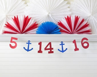 Glitter Wedding Date Banner - 5 Inch Numbers with Anchors - Save The Date Banner Wedding Photo Prop Sign Nautical Wedding Shower Banner