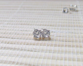 Cubic Zirconia Stud Earrings Sterling Silver 4mm April Alternative Birthstone