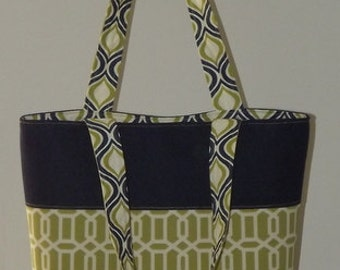 "Green and Blue Geometric Print ""Hold Everything"" Tote"