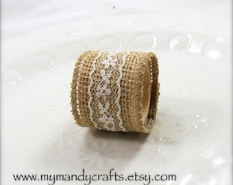 Burlap and Lace Napkin Ring - Wedding - Dinner Party