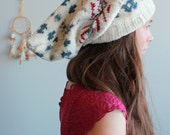 Fair Isle Wild Child Oversized Boho Knit Recycled Sweater Long Gnome Beanie Eco Friendly Gypsy Hippie Hat Gifts For Her