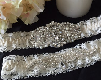 Wedding Garter Set / Bridal Garter Set / Lace Garter / Vintage-inspired Garter