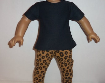 18 Inch Doll, Leopard Print, Leggings, Black Blouse, Short Sleeve, Cotton Shirt, Pants Outfit, American Made, Girl Doll Clothes
