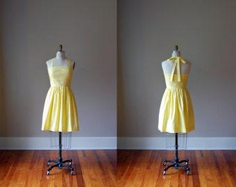 Hayley Cotton Halter Dress / Lemon Yellow / Custom Dress / Rustic Dress / Bridesmaid Dress / Party / Wedding / Handmade in USA / Summer