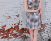 SALE XS- Ready Made- Sleeveless Gingham Dress- Fitted Vintage Inspired Dress in Navy Checks- Ships Immediately