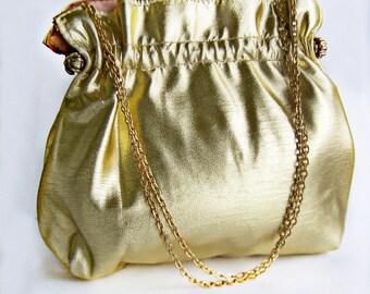 Vintage Evening Bag Metallic Gold Andes 1950s Convertable Clutch Handbag High Shine Wedding Gold Gold-lamé Fashion Purse