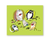 Reading Cats Card - Funny Cat Card - Book Lover Card