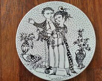 Bjorn WIINBLAD / month Placque Plate OPTIMISME November / Nymolle Denmark / scandinavian midcentury 70s vintage