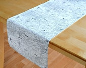 Map Table Runner - Air Traffic Felix Natural - Grey print on Natural - Banquet, Party, table topper