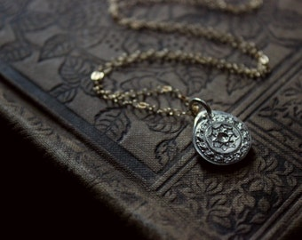 The Midsummer Pendant Necklace. Rustic Hand Stamped Fine Silver Medallion Pendant and 14k Gold Filled Necklace.