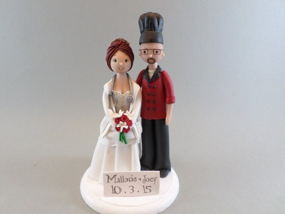 chef groom wedding cake topper doctor amp chef custom made wedding cake topper 12632
